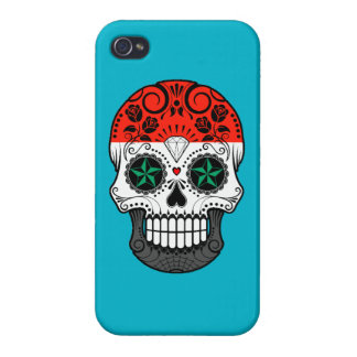 Customizable Syrian Flag Sugar Skull with Roses iPhone 4 Cover