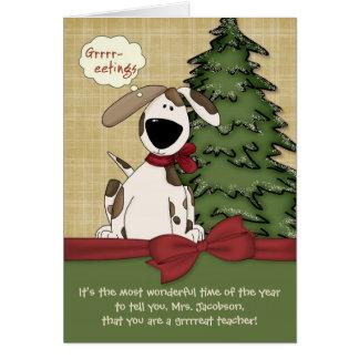 Customizable Teacher's Name Christmas Doggy Greeting Card