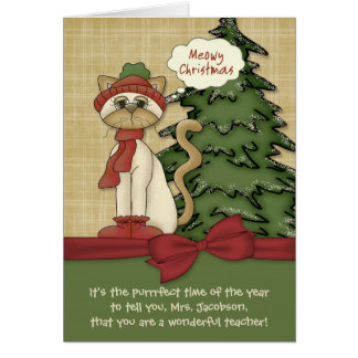 Customizable Teacher's Name Meowy Christmas Kitty Card