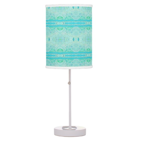 Customizable Teal Aqua Unique Abstract Pattern Table Lamps