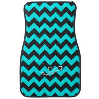 Customizable teal black chevron pattern car mats