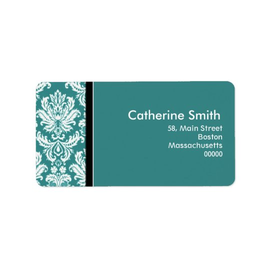 Customizable Teal Damask Address Labels