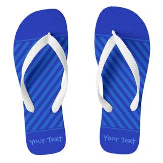 Customizable Text Diagonal dark cobalt blue Stripe Flip Flops