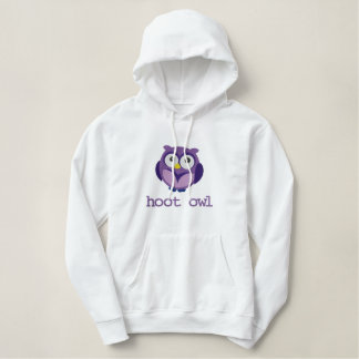 Customizable Text Hoot Owl Embroidered Apparel Embroidered Hoodie