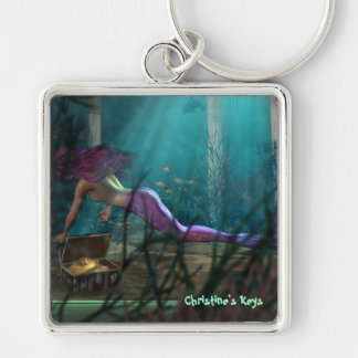 Customizable text Mermaid Art Keychain