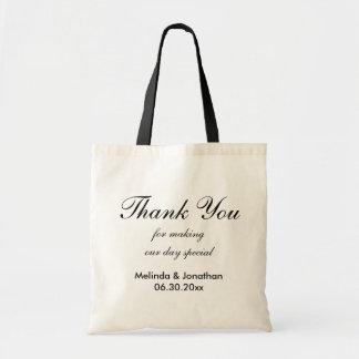Customizable Thank Wedding Tote Bag - Black Text