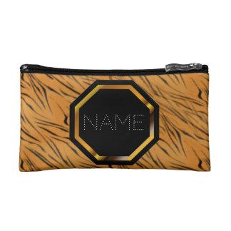 Customizable Tiger Print Cosmetics Bag
