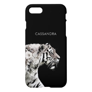 Customizable Tiger Roses Double Exposure Portrait iPhone 8/7 Case