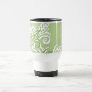 Customizable travel comuter thermo mug green leaf