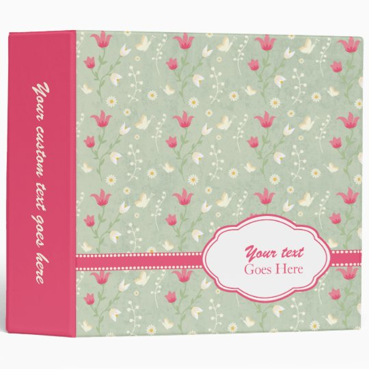 Customizable trendy flowers avery binder