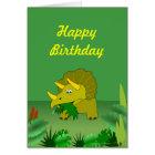 Customizable Triceratops Dinosaur Happy Birthday Card