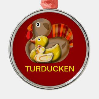 Customizable Turducken Design Silver-Colored Round Ornament
