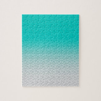 Customizable Turquoise White Ombre Background Puzzles