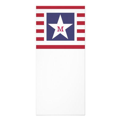 Customizable U.S.A. Flag Monogram Rack Card Template