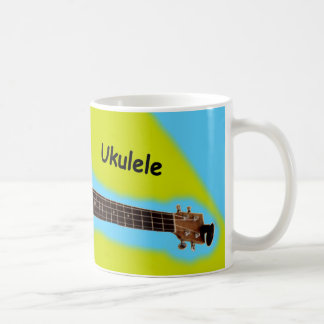 Customizable Ukulele Coffee Mug #3: Brown on Lemon
