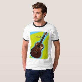 Customizable Ukulele Shirt #3: Brown on Lemon