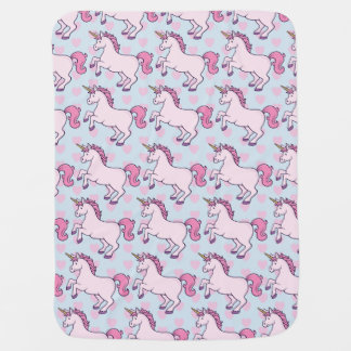 Customizable Unicorn and Hearts Pattern Baby Blanket