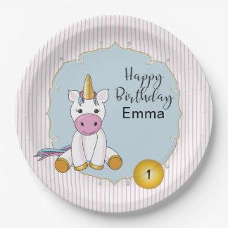 Customizable Unicorn Paper Plate