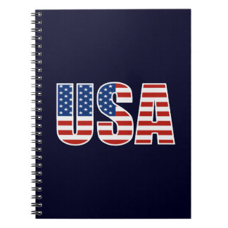 Customizable USA American Flag Spiral Note Books
