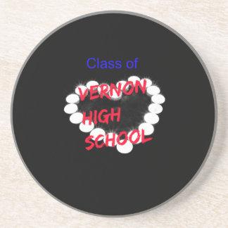 Customizable Vernon High School Candle Heart Coasters