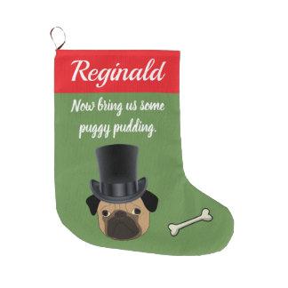 Customizable Victorian Pug Large Christmas Stocking