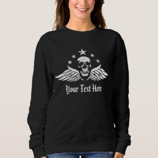 Customizable Vintage Biker Skull and Wings Sweatshirt