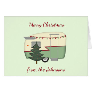 Customizable Vintage Camper Christmas Card