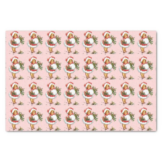 Customizable Vintage Christmas Girl Tissue Paper