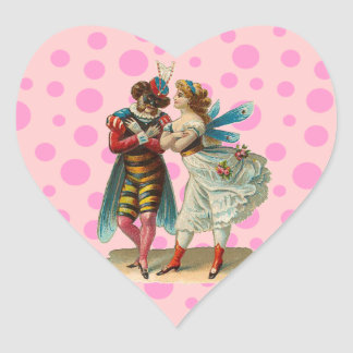 Customizable Vintage Costume Party Heart Sticker
