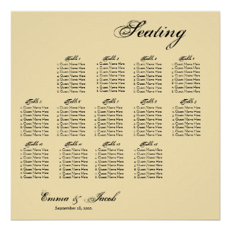 Customizable Vintage Inspired Seating Chart Posters