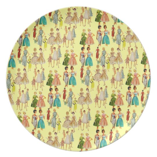 Customizable Vintage Retro Fashion Plate