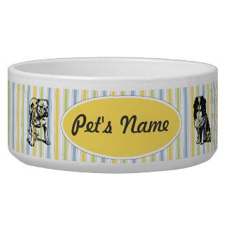 Customizable Vintage Toy Dogs on Stripes Pet Bowl