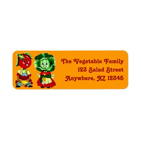 Customizable Vintage Vegetable Couple Return Address Label