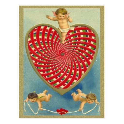 Customizable Vintage Woven Heart and Cherubs Postcard