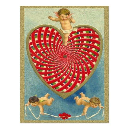 Customizable Vintage Woven Heart and Cherubs Postcard