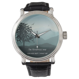 Customizable Watch with Mountain Scene on Face