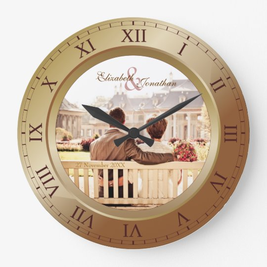 Customizable Wedding Anniversary Bronze Photograph Large Clock