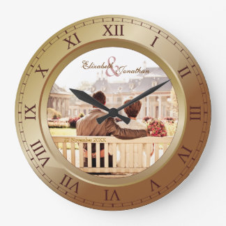 Customizable Wedding Anniversary Bronze Photograph Wallclocks
