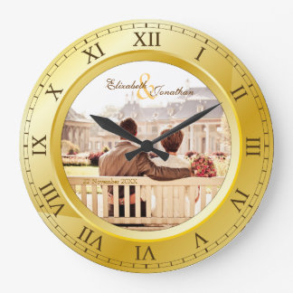 Customizable Wedding Anniversary Gold Roman Photo Wall Clocks
