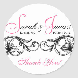 Customizable Wedding Favor or Cake Box Labels Pink Round Sticker