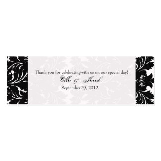 Customizable Wedding Favor Tag Black Damask Business Cards