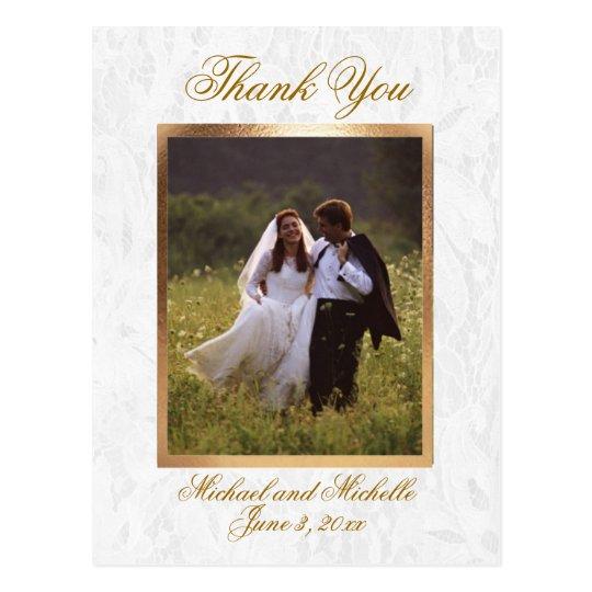 Customizable Wedding Photo Thank You Postcard