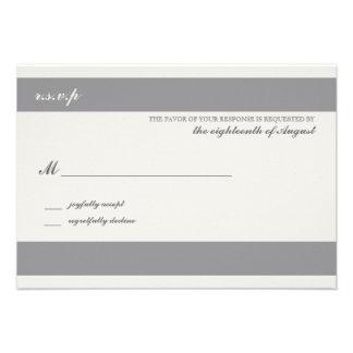 Customizable Wedding Response Card Charcoal Stripe Announcements