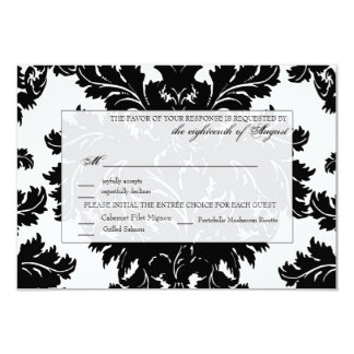 "Customizable Wedding RSVP Card Damask 3.5"" X 5"" Invitation Card"