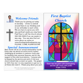 Customizable Weekly Church Bulletin (Inside Blank) Letterhead