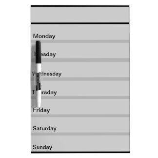 Customizable Weekly List Dry Erase Board