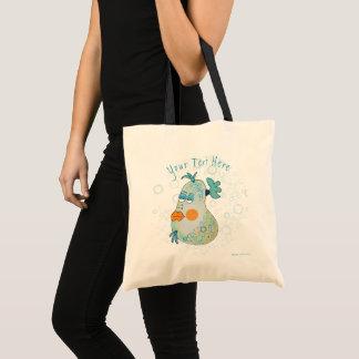Customizable Whimsical Fish Art Teal and Yellow Tote Bag