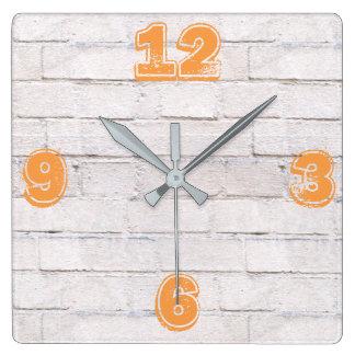 Customizable White Brick Wall. Wall Clocks