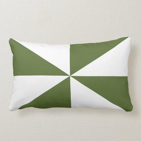 Customizable White/Olive Green Pinwheel Lumbar Pillow