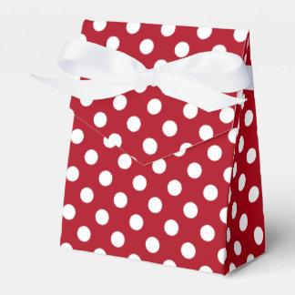 Customizable White on Dark Red Polka Dot Favor Box